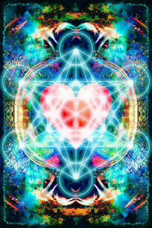 healing: Light merkaba and heart on abstract background. Sacred geometry. Stock Photo