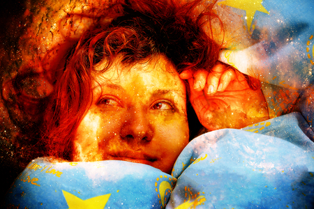 duvet: Detail of sleeping woman with red hair in cosmic space. Stock Photo