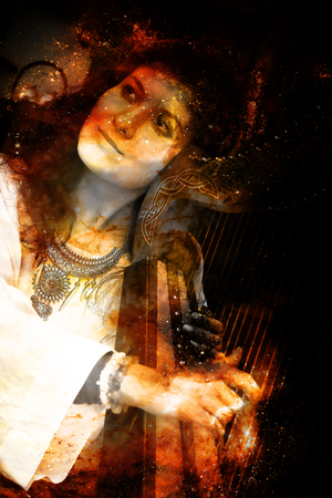 the resonator: girl harpist in white dress with jewels playing her instrument in cosmic space.