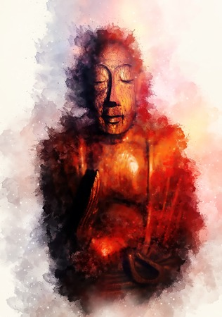 Buddha silhouette in lotus position and softly blurred watercolor background.