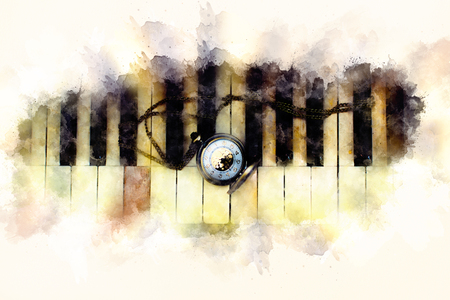 Vintage piano keys with antique pocket watch with a chain, time concept. Softly blurred watercolor background.