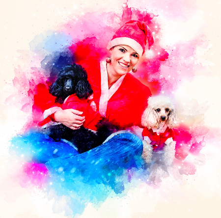 Cheerful young woman in christmas outfit accompanied by two sweet poodles. Softly blurred watercolor background. Stock Photo