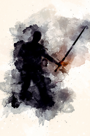 shadow warior with sword and Softly blurred watercolor background.