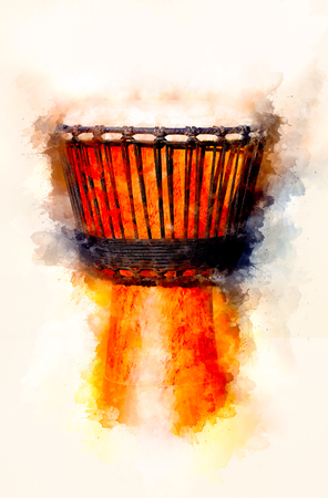Original african djembe drum with leather lamina and softly blurred watercolor background. Stock Photo