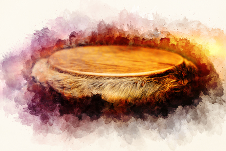 african djembe drum and softly blurred watercolor background.