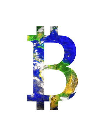Bitcoin cryptocurrency concept and earth, graphic collage.