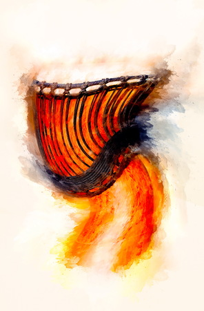 Swirled african djembe drum with leather lamina and softly blurred watercolor background.