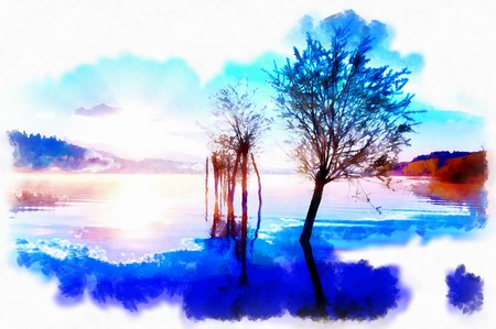 beautiful landscape with rising sun reflecting on lake waters, computer graphic effect. Banque d'images