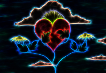 Healing power of nature nurturing and recovering heart with her powers. Fractal effect. Stock Photo