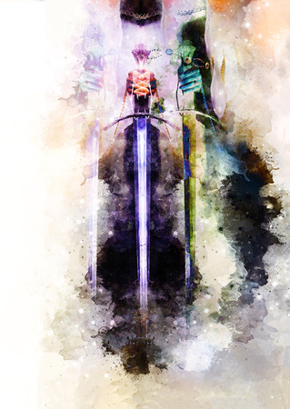 Medieval sword in woman hand and Softly blurred watercolor background.