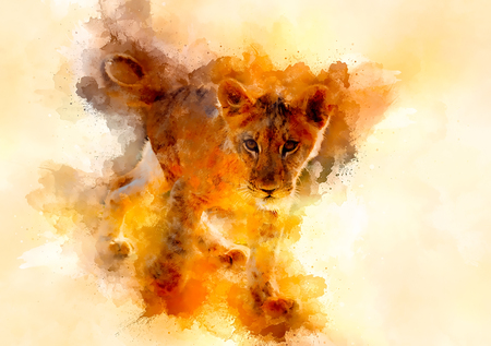 cute lion and graphivc effect. Softly blurred watercolor background. Banco de Imagens