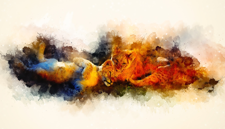 Two cute lion cubs playing together and softly blurred watercolor background.