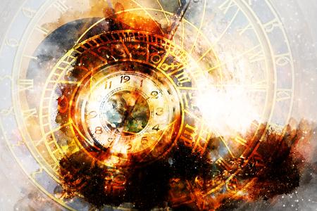 Astrological symbol Zodiac and vintage pocket watch in cosmic space. Reklamní fotografie