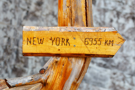 Highland mountain wooden signs showing distance and direction to some significant cities.