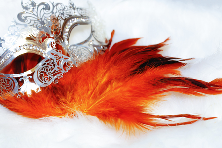 beautiful filigrane ornamental silver venice mask with radiant feathers on white fur structure.