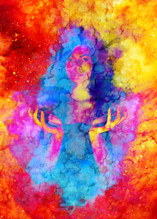 Beautiful mysterious girl in cosmic space and Softly blurred watercolor background.