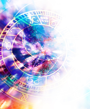 astrological symbol Zodiac. Abstract color background. Computer collage. Banco de Imagens