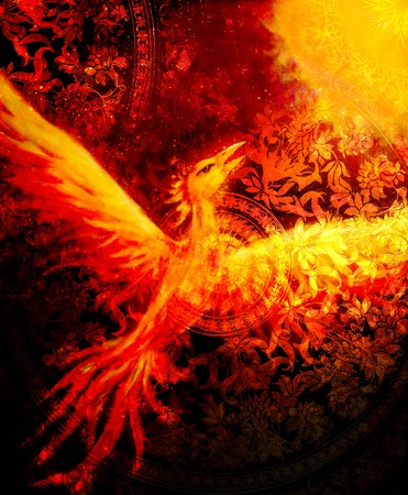 Flying phoenix bird as symbol of rebirth and new beginning and ancient ornament in background.