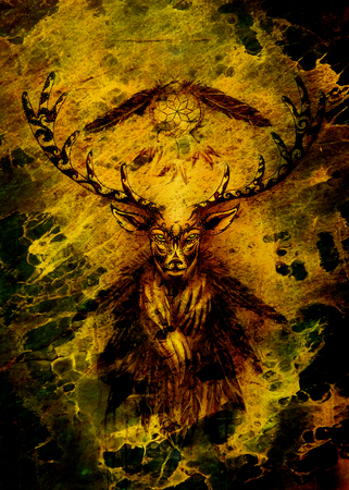 sacred ornamental deer spirit with dream catcher symbol and feathers. Banque d'images - 119010617