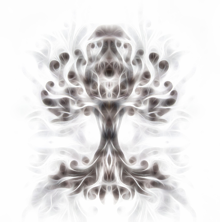 tree of life symbol on structured ornamental background, yggdrasil. Fractal effect. 写真素材 - 119011385