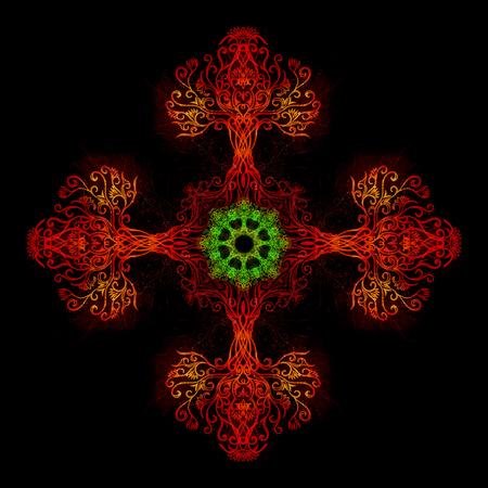 mandala made of sacred ornamental tree of life symbol.