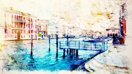 Romantic scenery of Venice, Italy. Computer painting