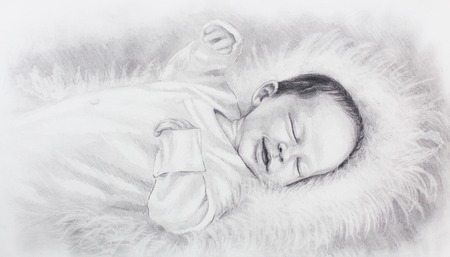 drawing of cute smiling newborn baby lying on white fur. Stock Photo