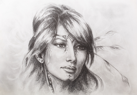Drawing of beautiful contemplative indian woman face. Color effect.