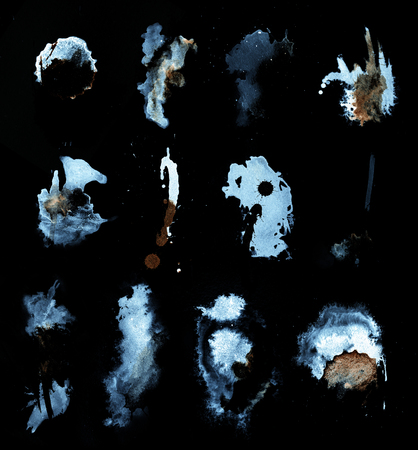 abstract splashes on blackbackground, splash on paper.