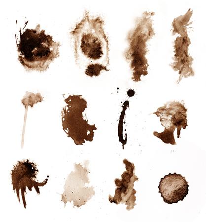 brown coffee splashes on white watercolor paper. Stok Fotoğraf