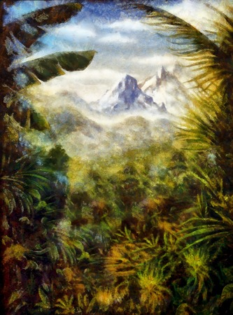 panoramatic view on tropical landscape with abundant plantation and mountain on the background, painting with graphic effect. Banco de Imagens
