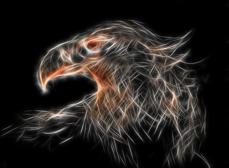 sketch of an eagle head on a paper. Fractal effect.