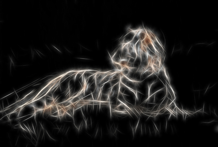 lying tiger in fractaled structure on black background. Stock Photo