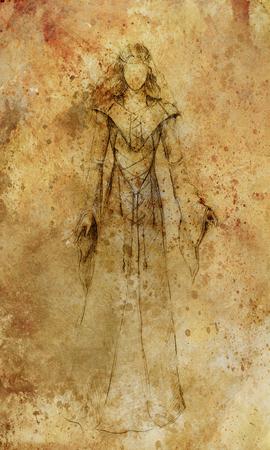 disegno su carta di donna mistica che indossa un abito storico.