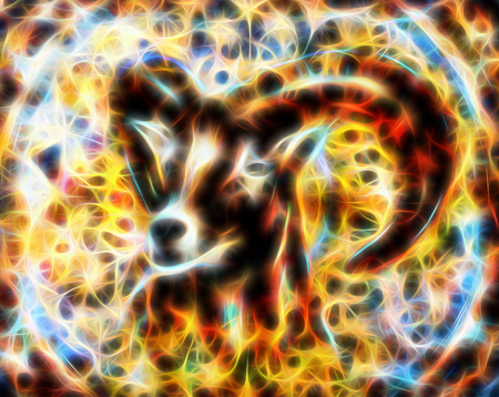 Drawing of male wild sheep with mighty horns, fractal effect