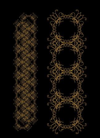 ornamental pattern on black background. Vector illustration