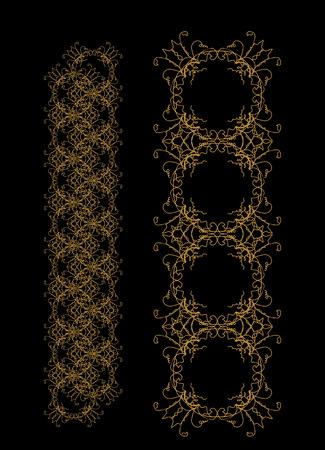 ornamental pattern on black background. Vector illustration