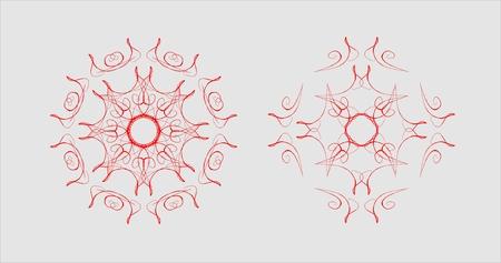 Set of ornamental shiny mandalas in different shapes. Vector illustration eps