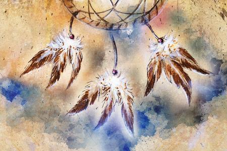 dream catcher, feathers and ornaments, indian spiri. Zdjęcie Seryjne - 120370366