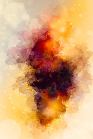abstract color splashes on ocre background. Stock Photo
