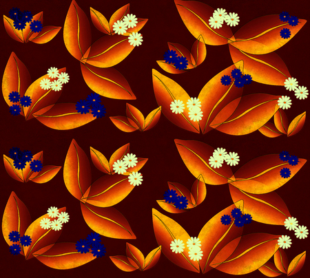 flowers pattern, graphic floral motive. Aquarelle effect.
