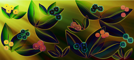 Spring flowers pattern, graphic floral motive. Graphic flowers. Stockfoto - 120370582