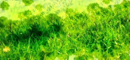 wild meadow grass structure in bright green tones, computer painting. Stockfoto