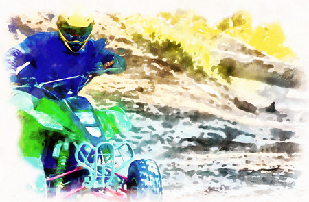 racer with yellow helmet on green quad enjoying his ride outdoors. Computer painting effect.