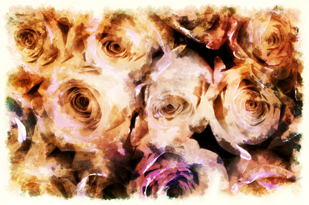 Decorative background with rose pattern, multicolored background. Stockfoto - 120370886