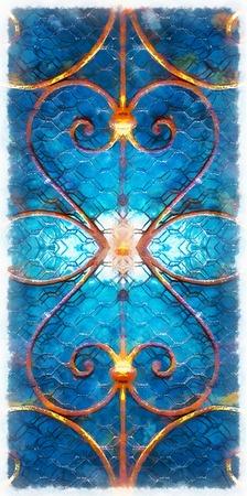 Ornamental decorative rosette on fenster, graphic effect. Stock Photo
