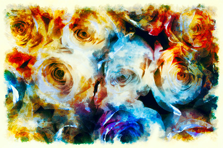 Decorative background with rose pattern, multicolored background.