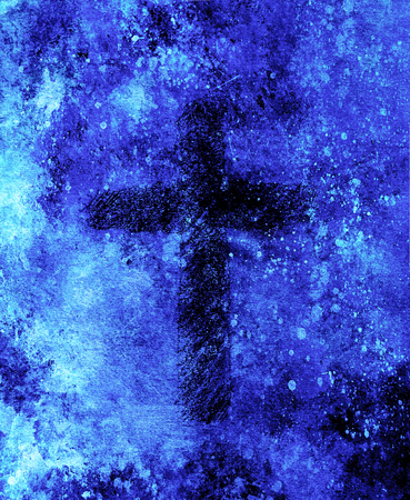 simple cross symbol, pencil drawing on abstract background