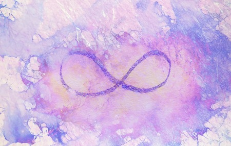 simple symbol of eternity, pencil drawing on abstract background