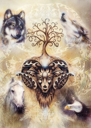 sacred ornamental aries spirit with tree of life symbol and animals. 写真素材
